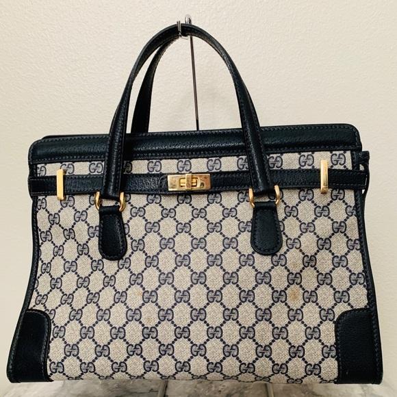 Gucci Handbags - Vintage Gucci Blue Monogram GG Birkin Handbag